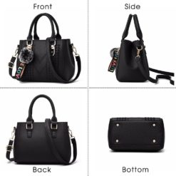 Embroidery Women Handbags with Fur Ball Designer PU Leather Shoulder Messenger Bag Office Lady Crossbody Tote Bag Female Purse