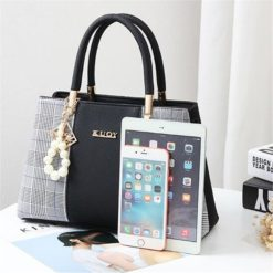 Popular Patchwork Women Shoulder Bag Elegant Female Plaid Crossbody Bags Fashion Top-Handle Hand Tote with Pendant Hanging Pearl